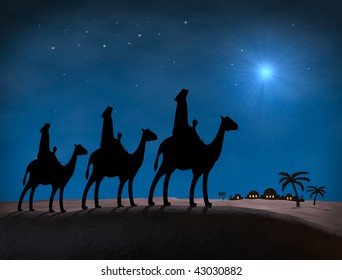 Bethlehem Christmas Wise Men. Star in night sky above Bethlehem, with Silhouettes on hill overlooking city.