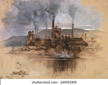 Bethlehem Steel Works in May 1881. Watercolor painting by Joseph Pennell.