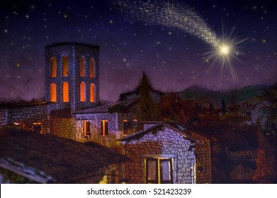 Bethlehem town at night, with the Christmas star comet. Artistic abstract pastel style drawing illustration background.