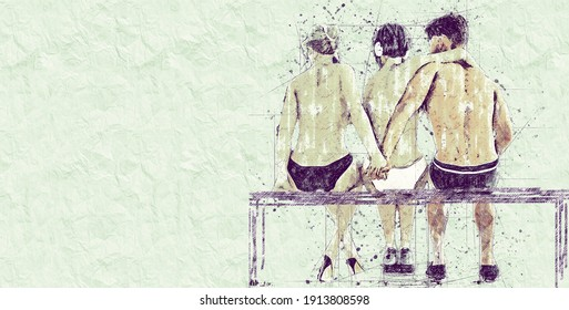Betrayal Concept. 2+1 Two women and one man. Love triangle. Young people in the summer on the beach. Sketch drawing in pencil style. Horizontal orientation with copy space
