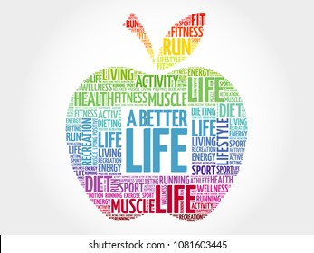 A Better Life apple word cloud, health concept