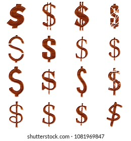 Beveled edge wooden style dollar sign or money and price symbol in a 3D illustration with a natural brown wood grain texture isolated on a white background