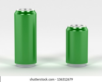 Beverage green cans 3d render, ideal for soda, cola, beer, energy drink