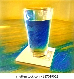 Beverage On Coaster In Vibrant Yellow And Blue