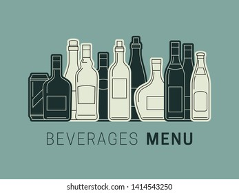Beverages menu with bottles of alcoholic drinks. Template illustration of Alcohol drinks.