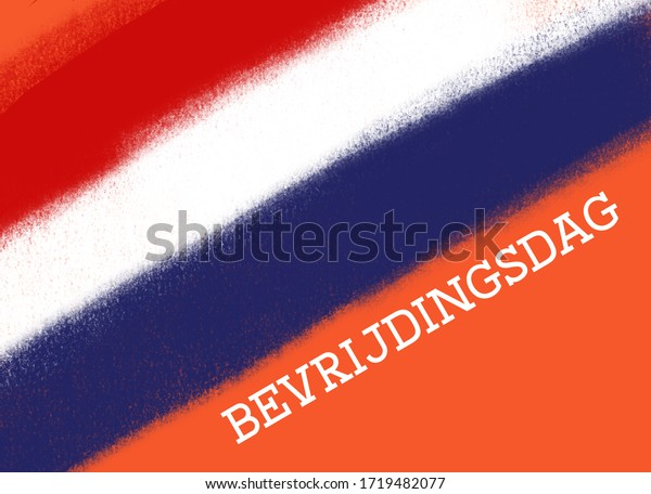 Bevrijdingsdag (liberation day) image with the Dutch flag in red, white and blue on an orange background. Room for text.