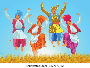 Bhangra poster template design of people dancing. Lohri is a popular winter time Punjabi folk festival, celebrated primarily by Sikhs and Hindus from the Punjab region in the northern part of Indian.