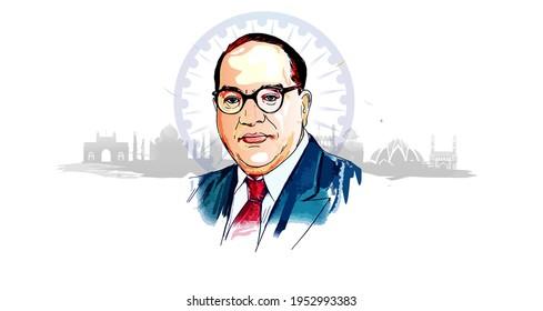 Bhimrao ambedkar. Dr. Bhimrao ambedkar. B. R. Ambedkar. Jayanti Indian Babasaheb day celebration vector Illustration