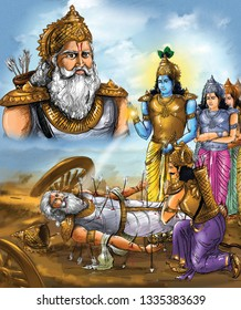 Bhishma lies on a bed of arrows, in the battlefield of Kurukshetra and krishna is next to him.