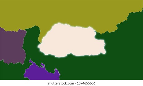 Bhutan area on the administrative divisions map in the stereographic projection - raw composition of raster layers with light glowing outline