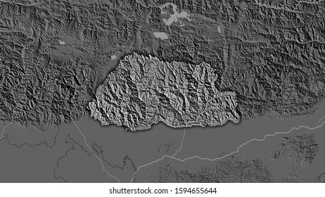 Bhutan area on the bilevel elevation map in the stereographic projection - raw composition of raster layers with dark glowing outline