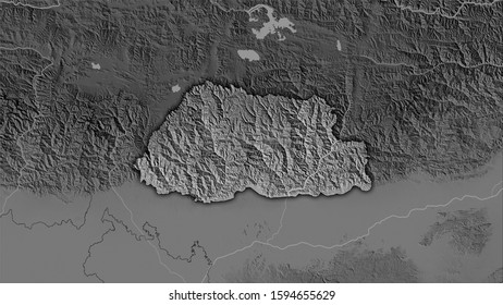 Bhutan area on the grayscale elevation map in the stereographic projection - raw composition of raster layers with dark glowing outline