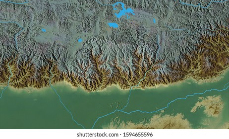 Bhutan area on the topographic relief map in the stereographic projection - raw composition of raster layers