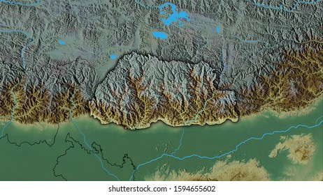 Bhutan area on the topographic relief map in the stereographic projection - raw composition of raster layers with dark glowing outline