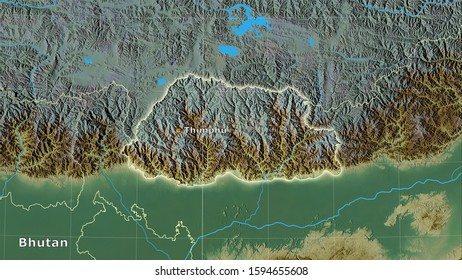 Bhutan area on the topographic relief map in the stereographic projection - main composition