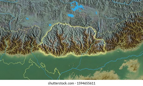 Bhutan area on the topographic relief map in the stereographic projection - raw composition of raster layers with light glowing outline