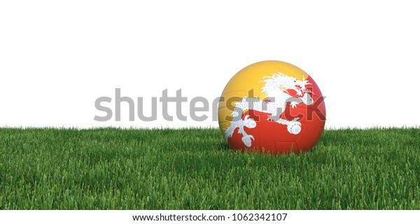 Bhutan Bhutanese flag soccer ball lying in grass, isolated on white background. 3D Rendering, Illustration.