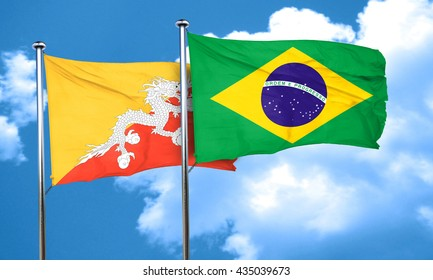 Bhutan flag with Brazil flag, 3D rendering