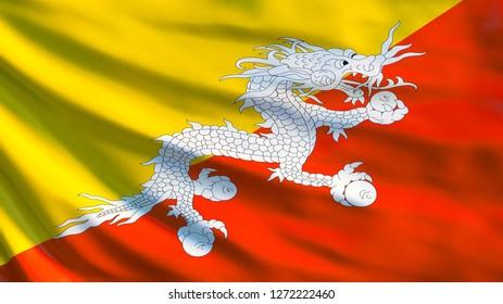 Bhutan flag. Waving flag of Bhutan 3d illustration. Thimphu