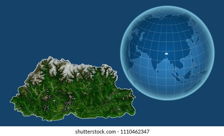 Bhutan. Globe with the shape of the country against zoomed map with its outline isolated on the blue background. Satellite imagery
