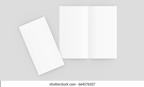 Bi fold brochure mock up isolated on soft gray background. 3D illustrating