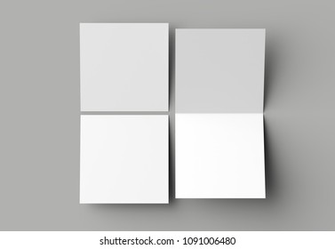 Bi fold square brochure or invitation mock up isolated on gray background. 3D illustration