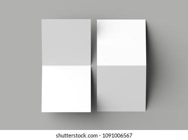Bi fold square brochure or invitation mock up isolated on gray background. 3D illustration