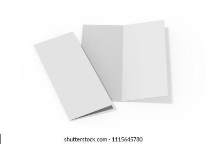 Bi fold or Vertical half fold brochure mock up on isolated white background, 3d illustration