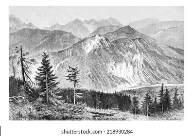 Bialki Valley as viewed from the Tatra Mountains in Tatra, Poland, drawing by G. Vuillier, from a photograph by Dr. Gustave le Bon, vintage engraved illustration. Le Tour du Monde, Travel Journal 1881