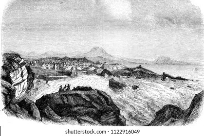 Biarritz, View of the Lighthouse, At the bottom, the mountains of Spain, vintage engraved illustration. Magasin Pittoresque 1858.