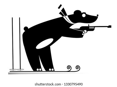 Biathlon competitor bear black on white illustration. Shooting biathlon competitor cartoon bear original silhouette isolated