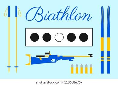 Biathlon design. Target, ski, cartridges, rifle, sticks, lettering text. Set of biathlon equipment. Light blue background. Winter sport isolated icons for web pages, prints of clothes.