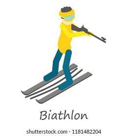 Biathlon icon. Isometric of biathlon icon for web design isolated on white background
