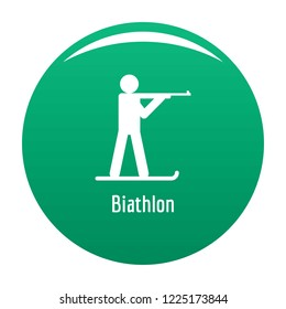 Biathlon icon. Simple illustration of biathlon icon for any design green