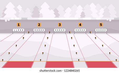 Biathlon shooting range. Place of shooting for competitions in biathlon. Winter sport background. Flat illustration