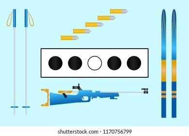 Biathlon target, ski, cartridges, rifle, sticks. Set of biathlon equipment. Light blue background. Winter sport isolated icons for design, web pages, prints of clothes.