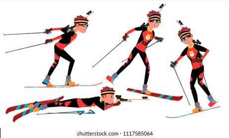 Biathlon Young Man Player. Man. Shooting Range. Aiming With Competitive Gun. Flat Athlete Cartoon Illustration