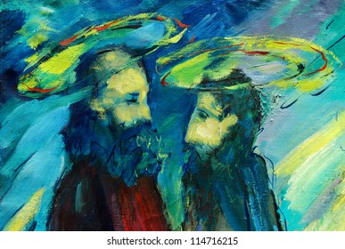 bible apostles peter and paul,  illustration, painting by oil on a canvas