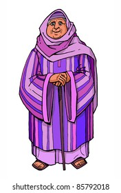 Bible hero Naomi old woman with a stick  colored children's illustration
