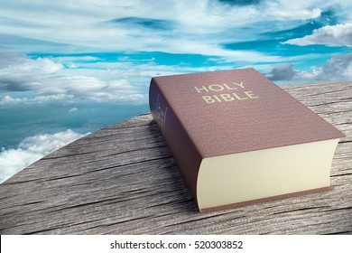 Bible on sky background, 3d illustration