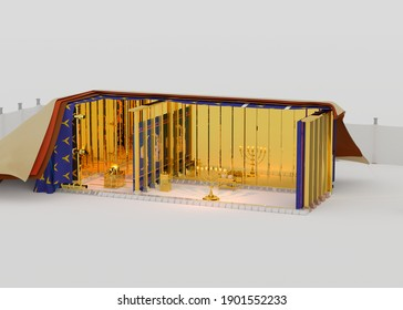 Bible sanctuary in the wilderness, Old Testament scripture structure of tabernacle, as described in the book of the Exodus. 3d rendering illustration