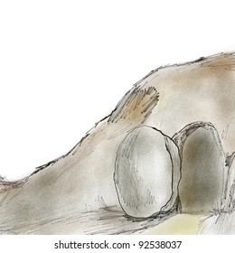 Biblical artwork of religious Easter sketch or drawing of open grave with stone rolled away from empty tomb to symbolize the resurrection of Jesus Christ after death on Good Friday