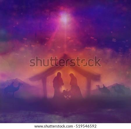 biblical scene birth jesus bethlehemのイラスト素材 519546592