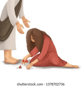Biblical Story about Jesus and the sinful woman who broked the vessel of mirrh, and washed the Jesus' feet. Digital illustration.