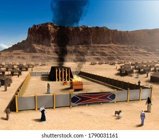 Biblical Tabernacle with altar and Jewish tent camp, Israel, 3d render.