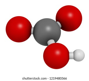 Bicarbonate anion, chemical structure. Common salts include sodium bicarbonate (baking soda) and ammonium bicarbonate. 3D rendering. Atoms are represented as spheres with conventional color coding.