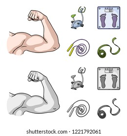 Biceps, exercise bike, scales for weighing, skalka. Fitnes set collection icons in cartoon,monochrome style bitmap symbol stock illustration web.