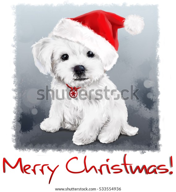 Bichon Christmas painting watercolor painting