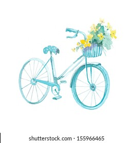 Bicycle with basket and flowers