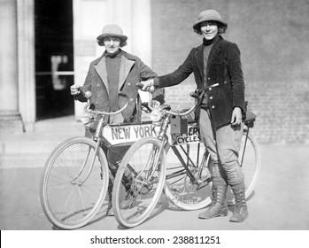 Bicycle. Beverly Bayard & Lorline Davis with bikes, ca. 1920